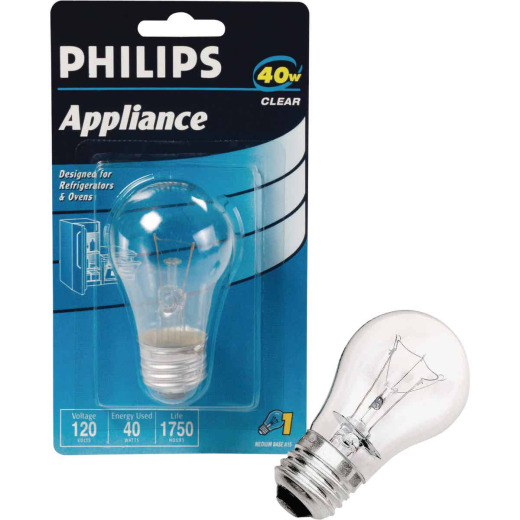 Philips 40W Clear Medium A15 Incandescent Appliance Light Bulb