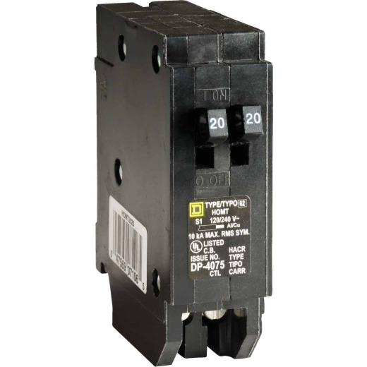 Square D Homeline 20A/20A Twin Single-Pole Standard Trip Tandem Circuit Breaker