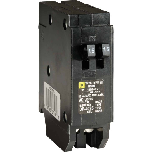 Square D Homeline 15A/15A Twin Single-Pole Standard Trip Tandem Circuit Breaker