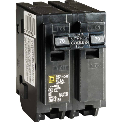 Square D Homeline 70A Double-Pole Standard Trip Circuit Breaker