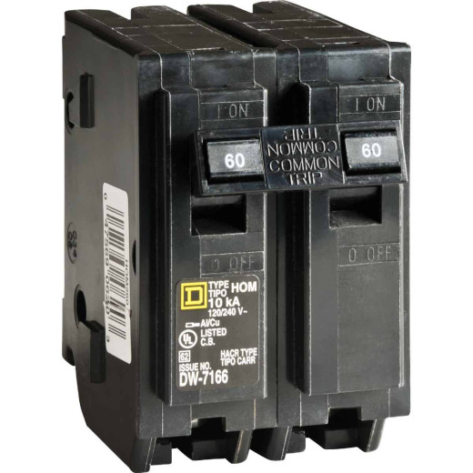 Square D Homeline 60A Double-Pole Standard Trip Circuit Breaker