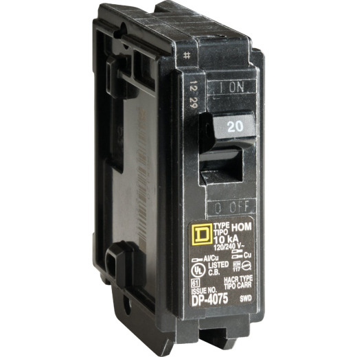 Square D Homeline 20A Single-Pole Standard Trip Circuit Breaker