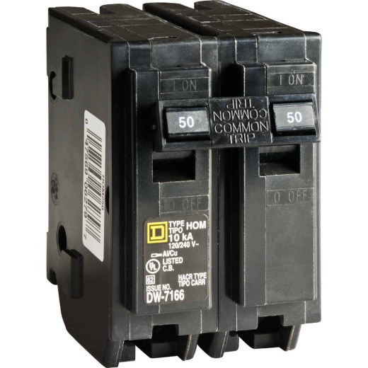 Square D Homeline 50A Double-Pole Standard Trip Circuit Breaker