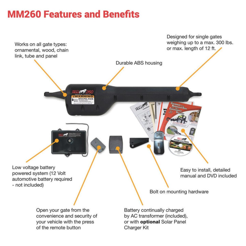 Mighty Mule MM271 12 Ft. 300 Lb. Single Gate Opener Kit Image 3