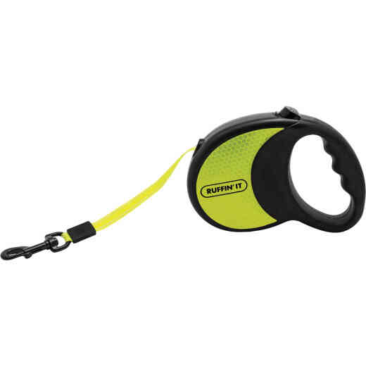 Westminster Pet Ruffin' it 10 Ft. Webbed Reflective Neon Yellow Up to 50 Lb. Dog Retractable Leash