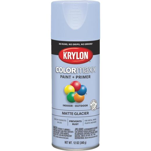 Krylon ColorMaxx 12 Oz. Matte Paint + Primer Spray Paint, Glacier